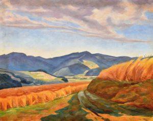 Unbekannt: Landschaft mit Kornfeldern