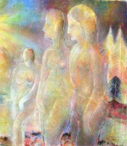 Hugo Wallenius: Drei weibliche Akte in einer Landschaft (Galerie)