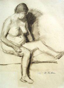 Arnold Hilmer: Weiblicher Akt im Profil