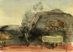 Ferdinand Springer: Imaginäre Landschaft mit Bäumen (Provence)