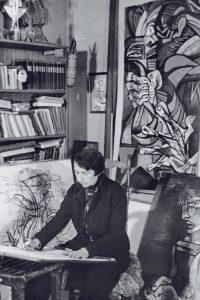 Jeanne Mammen um 1945 im Atelier (© Förderverein der Jeanne-Mammen-Stiftung e.V.)